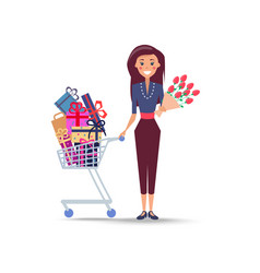 cheerful woman with shopping trolley full gifts vector image