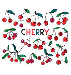 Cherry sweet fruit icons set cherry vector