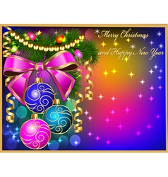 Christmas background with baubles and ribbon Chris vector