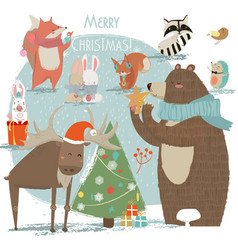 Christmas set with wild animals vector