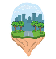 city and park scenery vector image