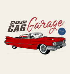 Classic car vintage style hand draw sketch vector