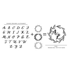 collection of hand written alphabet vector image
