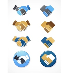 Collection of handshake icons and elements vector