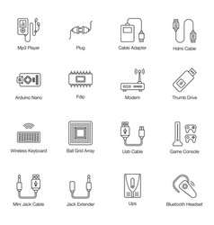 Computer cables line icons pack vector