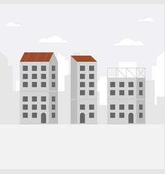 construction background with unfinished building vector image
