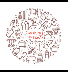 Cooking with love circular background from icons vector