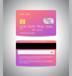 credit cards with pink gradient holographic design vector image vector image