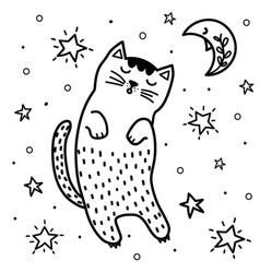 cute sleeping cat and moon coloring page fantasy vector image