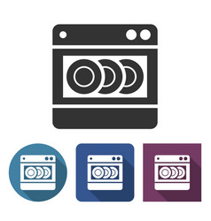 dishwashing machine icon in different variants vector image