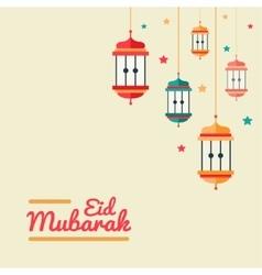 Eid Mubarak - flat design postcard vector image