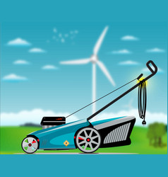 Electric lawn mover vector