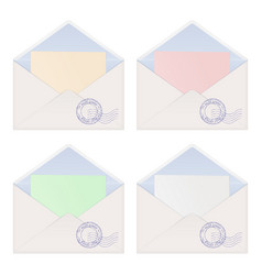 Envelope with letter inside colored paper vector