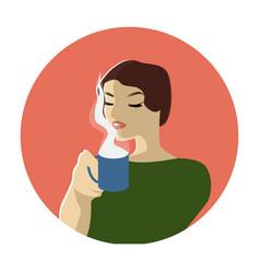 fashion woman witn cup of coffee or tea pop art vector image