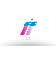 ff f f alphabet letter combination pink blue bold vector image