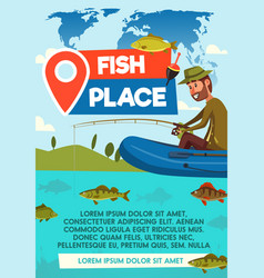Fisher catch on fishing place poster vector