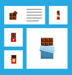 flat icon chocolate set of cocoa sweet bitter vector image
