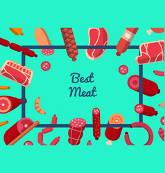 flat meat and sausages icons background vector image