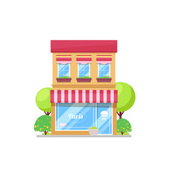 French restaurant building isolated parisian cafe vector