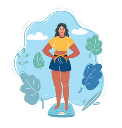 frightened woman on scale and measures her waist vector image
