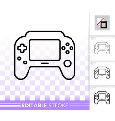 game pad simple black line icon vector image