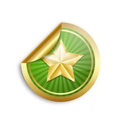 golden star sticker on white background vector image