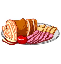 Ham cold cuts on a platter vector