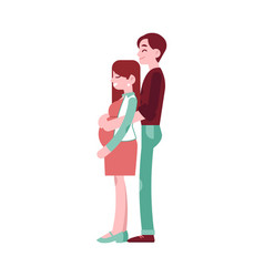 happy pregnant woman with belly man couple vector image