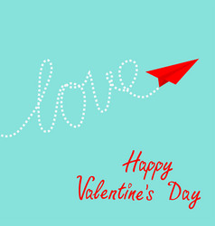 happy valentines day card red origami paper plane vector image