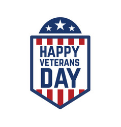 happy veterans day emblem template isolated vector image