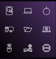 hardware icons line style set with folder router vector image