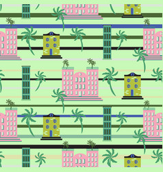 Hawaii resort buildings seamless pattern vector