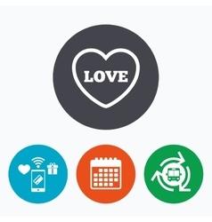 Heart sign icon Love symbol vector image