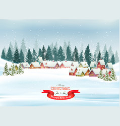 holiday christmas background with a village and vector image