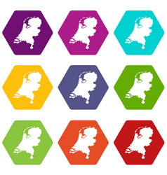 holland map icon set color hexahedron vector image