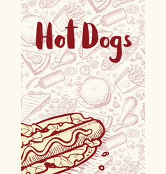 hot dogs vintage hand drawn poster vector image