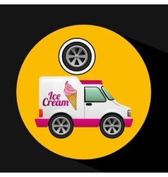 Icecream truck and wheel icon design vector