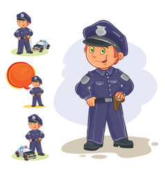 Icons of small child policeman and his vector