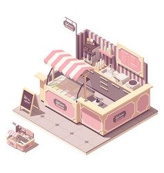 Isometric ice cream kiosk vector