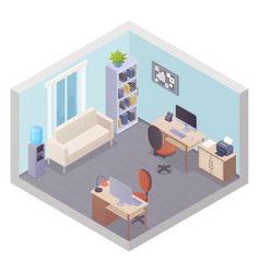 isometric office interior with two workplaces vector image