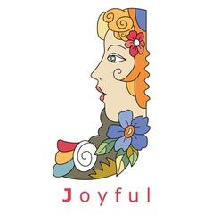 J joyful vector image