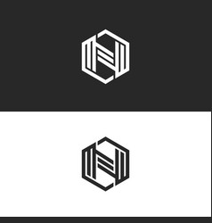 logo n letter monogram geometric shape of a vector image