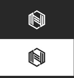 logo n letter monogram geometric shape vector image