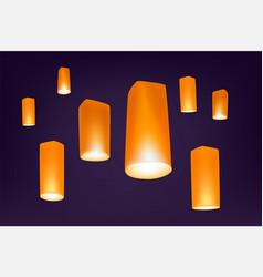 loy krathong festival lanters in night vector image