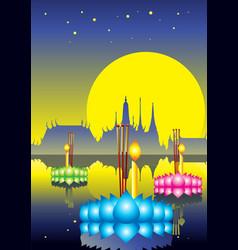 Loy krathong festival thailand culture vector