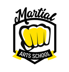 martial arts school banner or label with fighters vector image