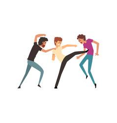 Men fighting and quarrelling aggressive and vector