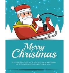 Merry christmas card santa sleigh with snow vector