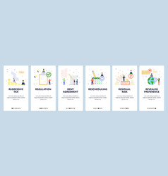 mobile app onboarding screens business icons vector image