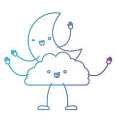 Moon and cloud kawaii caricature in color gradient vector